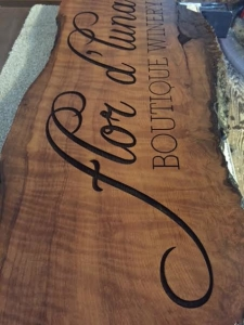 WoodLab Designs Flor d'Luna Boutique Winery Wood Slab Laser Etched Sign