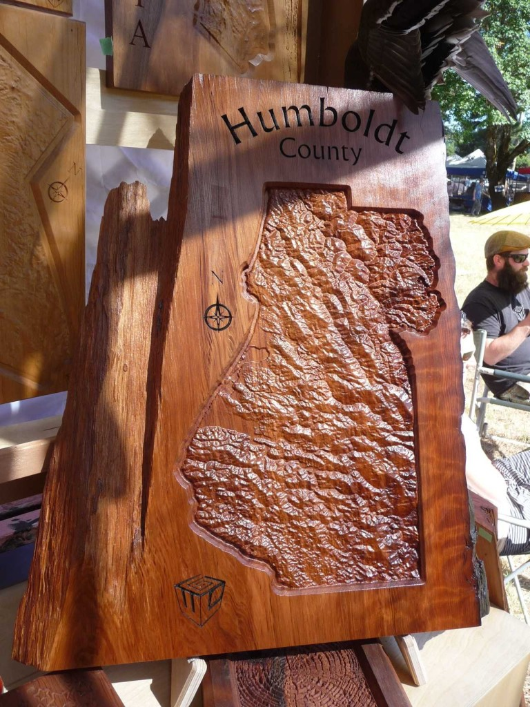 Live Edge Redwood Topo Map Wall Art