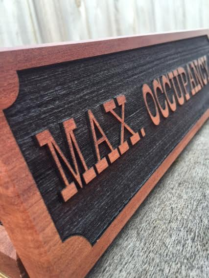 WoodLab Designs Logger Bar Maximum Occupancy Signage