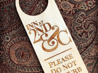WoodLab Designs Custom laser etched and cut Inn Guest Room Placard