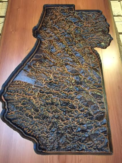 Torch Treated Topographical Map of Humboldt County Artwork