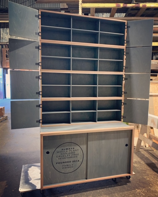 WoodLab Designs Stained Plywood with Sapele Wood Trim accented Apothecary Cabinet Display for Sun God Medicinals CBD