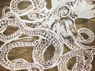 WoodLab Designs Laser Etched Glass Octopus Experiment