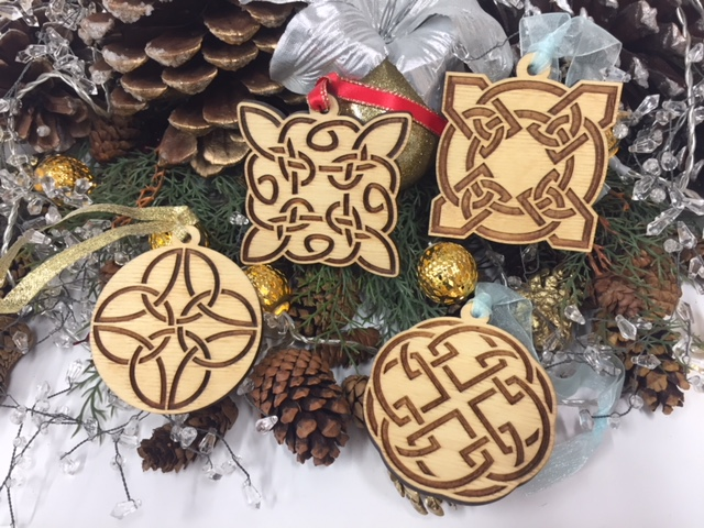 WoodLab Designs Baltic Birch Celtic Christmas Ornament Collection with assorted ribbon