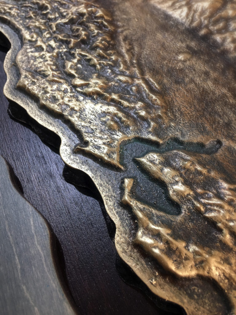 WoodLab Designs Cast Faux Metal Detail of the California Bay Area Artwork