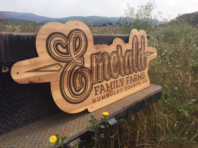 WoodLab Designs Emerald Family Farms Humboldt Cannabis 5' Wide laser etched hickory sign