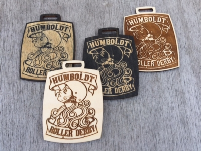 WoodLab Designs Humboldt Roller Derby Participant Badge prototypes