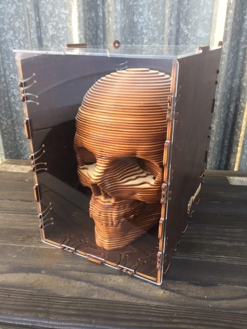 WoodLab Designs Baltic Birch Laser Cut Skull in Wood & Acrylic Display Box