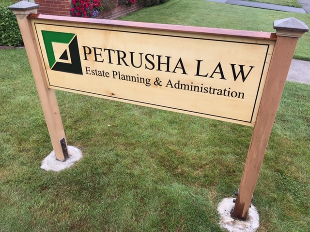 WoodLab Designs Petrusha Law Hand Painted Maple Sign with Redwood Rail Cap Eureka