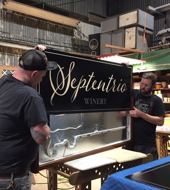 WoodLab Designs custom LED Exterior Sign for Septentrio Winery Tasting Room