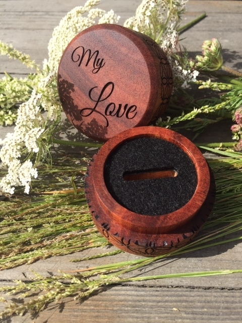 WoodLab Designs Laser Engraved Custom Sapele Engagement Ring Box