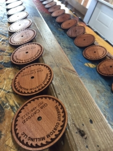 WoodLab Designs Redwood Laser Etched Custom Circular Sawblade Business Cards