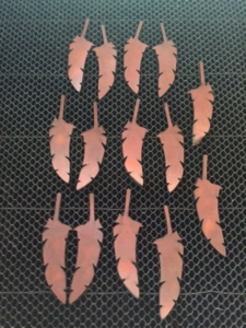 Laser Cut Leather Feather Ornaments
