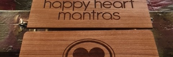 Happy Heart Mantras Laser Etched Wooden Signs