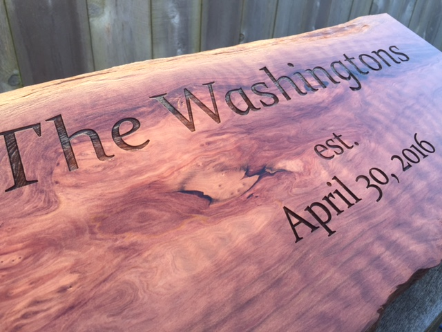 Wedding Present Personalized Redwood Slab Signage