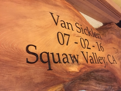 WoodLab Designs Redwood Slab Family Cabin Laser Etched Sign