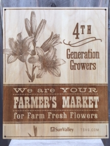 WoodLab Designs Sun Valley Floral Farms Farmer's Market Signage