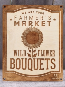 Wild Flower Bouquets' Laser Etched Baltic Birch Signage