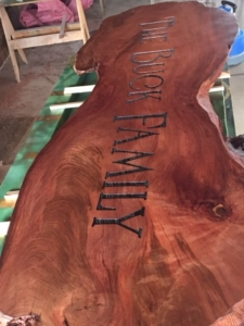 Redwood Slab Buck Family Custom Sign