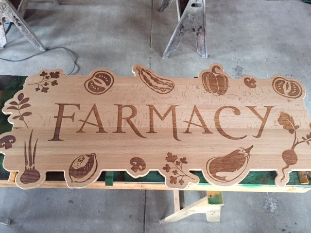 WoodLab Designs Natural Vegetable Farmacy Wooden Signage