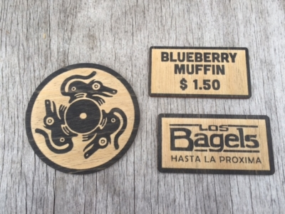 WoodLab Designs Los Bagels cafe signage
