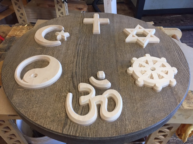 WoodLab Designs CNC routed world religion symbols