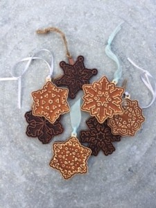 WoodLab Designs Redwood and Baltic Birch Laser Etched Snowflake Ornaments