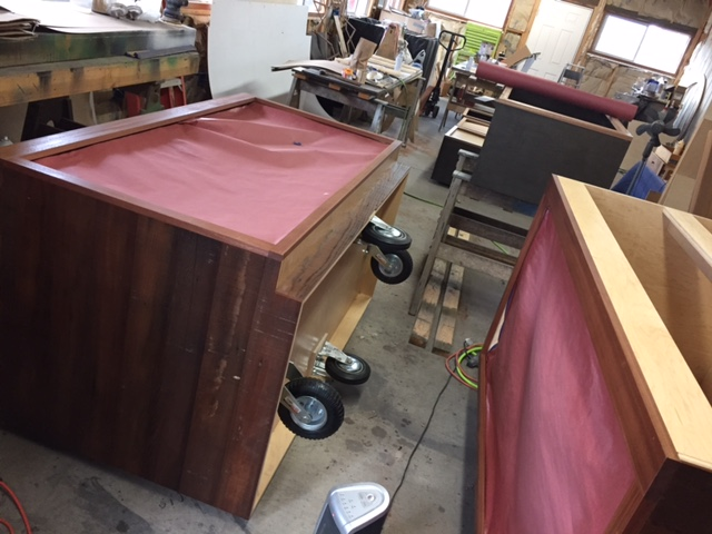 WoodLab Designs Redwood Roots Family Emerald Cup Tradeshow booth in progress