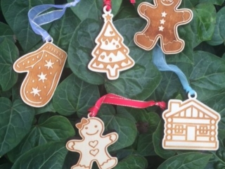 WoodLab Designs Holiday Cookie Laser Etched Wood Ornaments