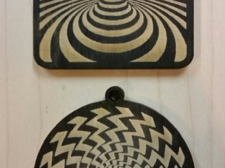 WoodLab Designs Baltic Birch Laser Etched Optical Illusion Holiday Ornaments