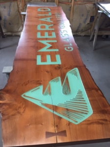 WoodLab Designs Emerald Glass Gallery Signage