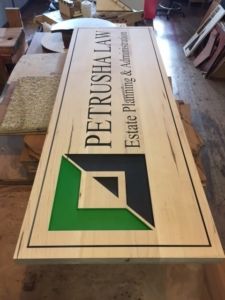 WoodLab Designs Double sided Law Office sign in progress