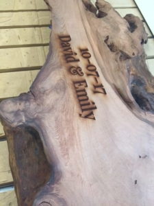 WoodLab Designs Wedding Slab Laser Etched Redwood for Guests to Personalize