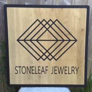 WoodLab Designs Stoneleaf Jewelry Laser Etched Baltic Birch Plywood Trade Show Sign