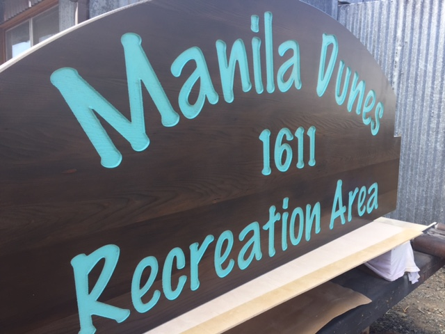 WoodLab Designs Stained Salvaged Redwood Hand Painted Recreation Area Sign
