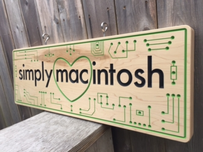 WoodLab Designs Simply Macintosh CNC Routed & Hand Painted Maple Sign