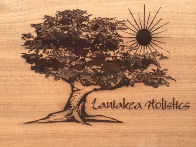 WoodLab Designs Laniakea Holistics Laser Etched Sapele Trade Show Booth Sign