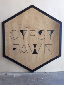 WoodLab Designs Custom Gypsy Fawn Jewelry Trade Show Booth Sign