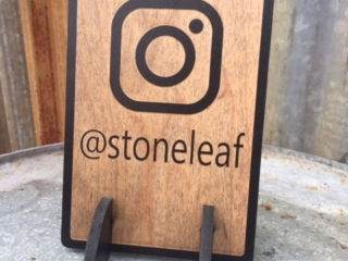 WoodLab Designs Laser Cut Instagram locator table top sign for Stoneleaf Jewelry