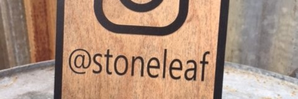 WoodLab Designs Stoneleaf Jewelry Trade Show Booth Instagram sign