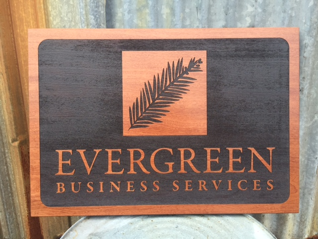 WoodLab Designs Sapele Laser Etched Sign with Exterior Finish for Evergreen Business Services