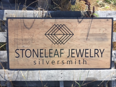 WoodLab Designs Stoneleaf Jewelry Trade show Laser Etched Baltic Birch Sign