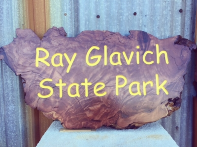WoodLab Designs Old Fashion State Park Replica Sign Redwood Burl