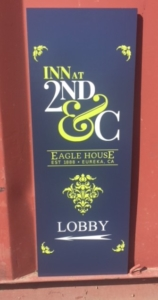 WoodLab Designs Wood Stained, Masked, and Painted Sign Prototype for Historic Eagle House Inn