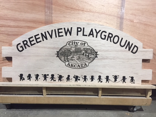 WoodLab Designs Inclusive Playground Laser Etched Sign Arcata, CA