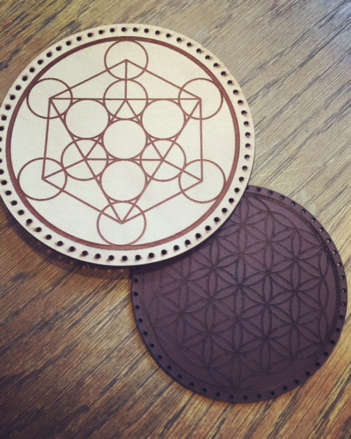 WoodLab Designs Sacred Geometric Laser Etched & Cut Cow Hide Leather Patches