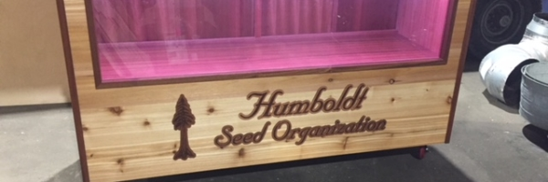 WoodLab Designs Humboldt Seed Organization Trade show locking Display Cabinet