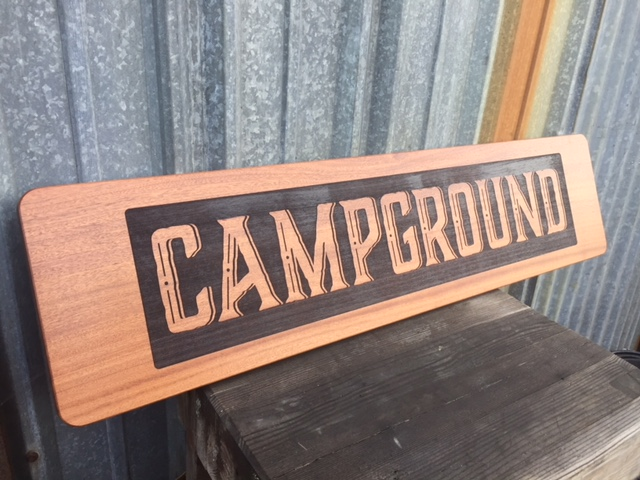 WoodLab Designs Campground Arcata Restaurant Signage made from Laser Etched Sapele