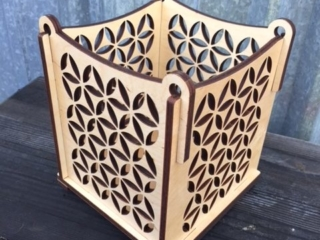 WoodLab Designs Baltic Birch Laser Cut Votive Candle Luminary Display