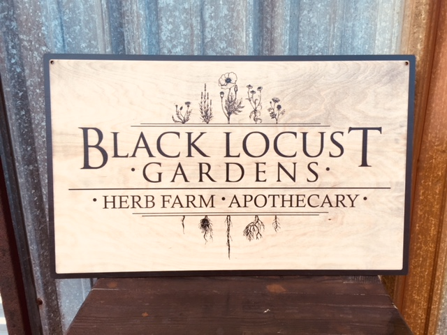 WoodLab Designs Stained Baltic Birch Plywood Laser Etched Black Locust Gardens Herb Farmers Market Sign